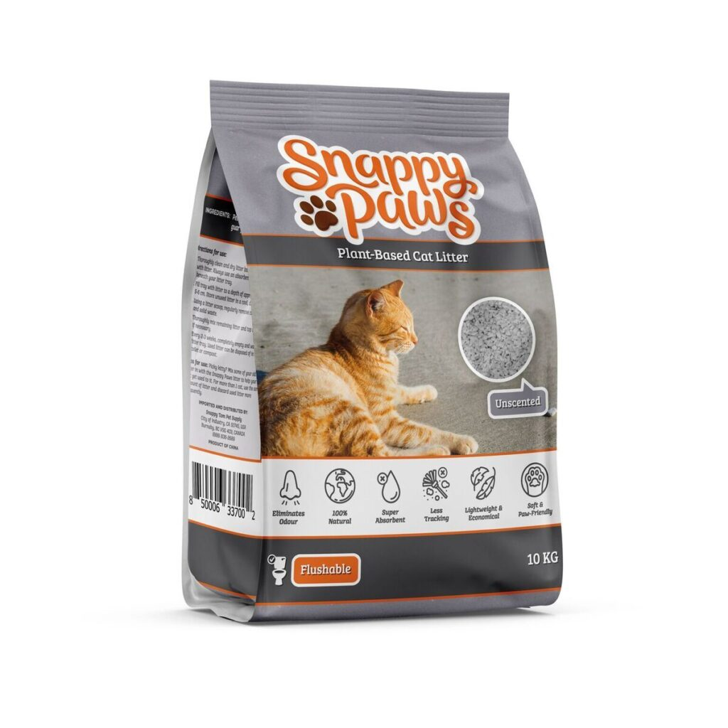 An image of Snappy Tom Pet Supply - Snappy Paws Plant Based Cat Litter (Natural Scent) (22 lbs Bag)