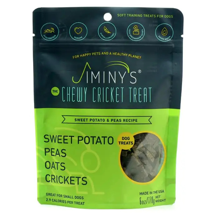An image of Jiminy's – Chewy Cricket Treat – Sweet Potato & Peas