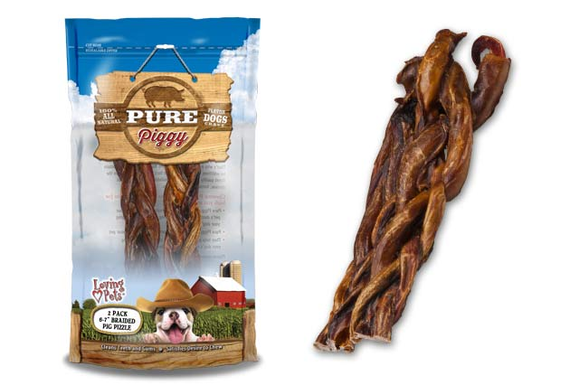 An image of Loving Pets - Pure Piggy Braided Pig Pizzle (2 Pack)
