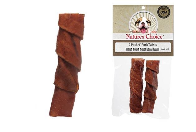 "An image of Loving Pets - Nature's Choice 4"" Pork Twist Sticks (2 Pack)"