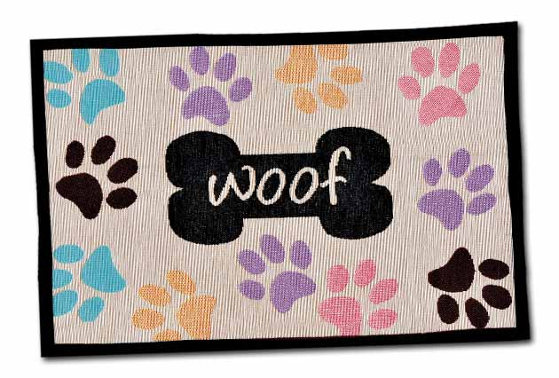 An image of Loving Pets – Woof with Multi Paws Fashion Mat