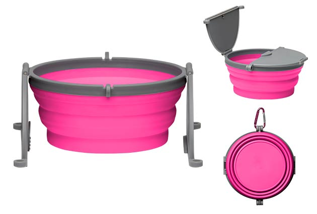 An image of Loving Pets - Bella Roma Travel Single Bowl - Pink