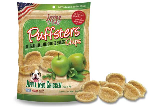 An image of Loving Pets - Puffsters Apple and Chicken Chips