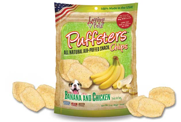 An image of Loving Pets - Puffsters Banana and Chicken Chips
