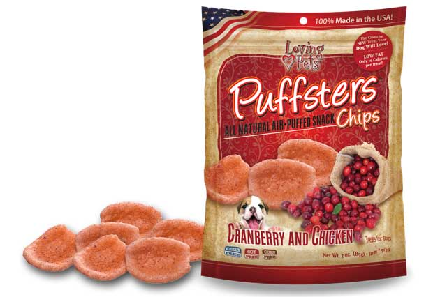 An image of Loving Pets - Puffsters Cranberry and Chicken Chips