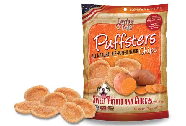 An image of Loving Pets - Puffsters Sweet Potato and Chicken Chips
