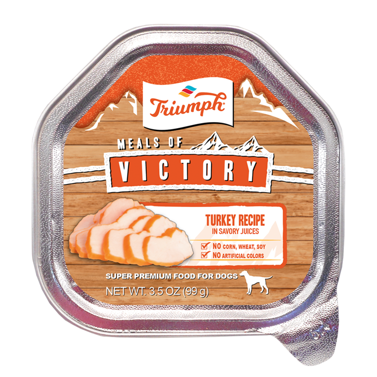 An image of Sunshine Mills, Inc. - Triumph Meals of Victory Turkey Recipe in Savory Juices Wet Cup Dog Food (15 units sleeve) 3.5oz.