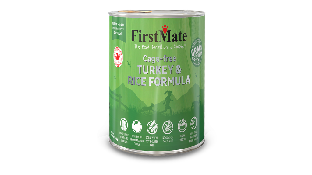 An image of FirstMate Pet Foods - *CASE 24* FirstMate Grain Friendly Cage-Free Turkey with Rice Cat Food 12.2oz