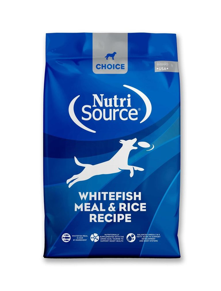 An image of Tuffy's Pet Foods - NutriSource Choice - Whitefish Meal & Rice Dog Food (30 Lbs.)