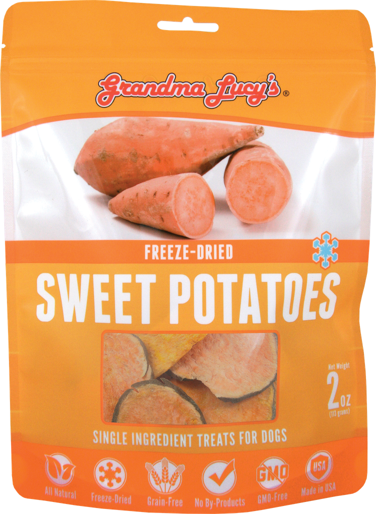 An image of Grandma Lucy's - SINGLES SWEET POTATOES Pet Treats - 2oz