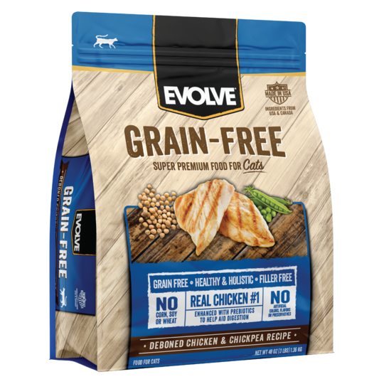 An image of Sunshine Mills, Inc. - Evolve Grain Free Deboned Chicken and Chickpea Recipe Dry Cat Food 3lb