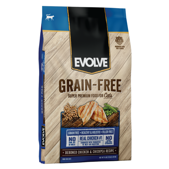 An image of Sunshine Mills, Inc. - Evolve Grain-Free Deboned Chicken and Chickepea Recipe Dry Cat Food 11lb