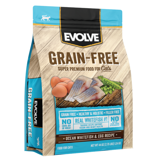An image of Sunshine Mills, Inc. - Evolve Grain Free Ocean Whitefish and Egg Recipe Dry Cat Food 2.75lb