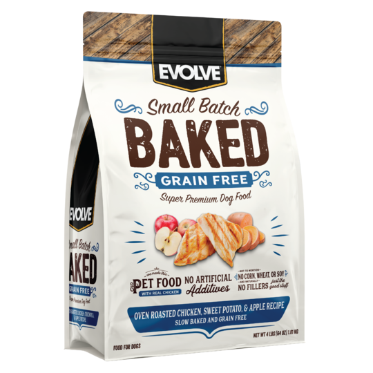 An image of Sunshine Mills, Inc. – Evolve Small Batch Baked Grain Free Oven Roasted Chicken, Sweet Potato, and Apple Recipe Dry Dog Food 4lb