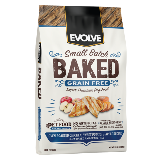 An image of Sunshine Mills, Inc. - Evolve Small Batch Baked Grain Free Oven Roasted Chicken, Sweet Potato, and Apple Recipe Dry Dog Food 11lb