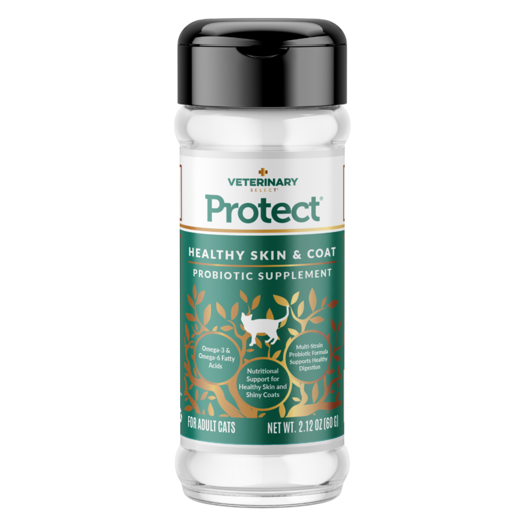 An image of Sunshine Mills, Inc. - Veterinary Select Protect Healthy Skin and Coat Probiotic Cat Supplement (12 units box) 2.12oz