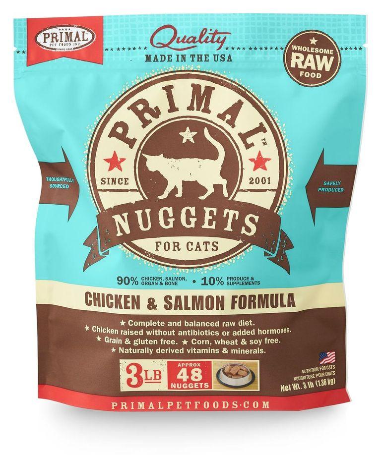 An image of Primal Pet Foods - 3lb Feline Chicken & Salmon Formula Nuggets