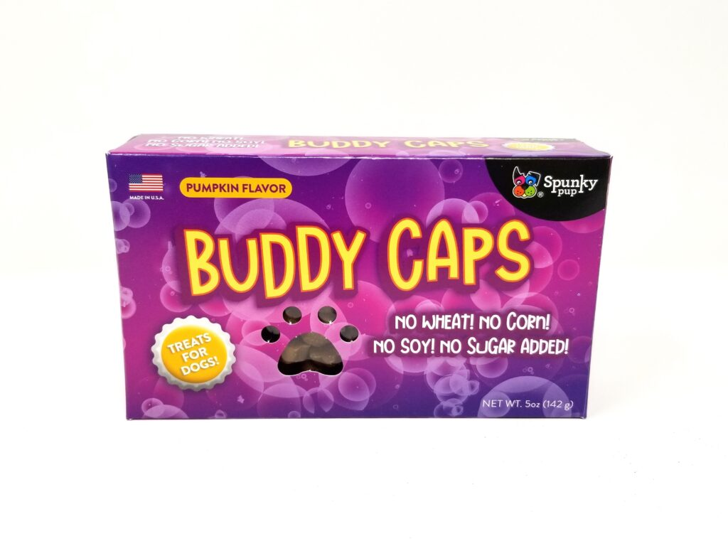 An image of Spunky Pup Dog Toys - Buddy Caps Dog Treats, Pumpkin Flavor - 5 oz