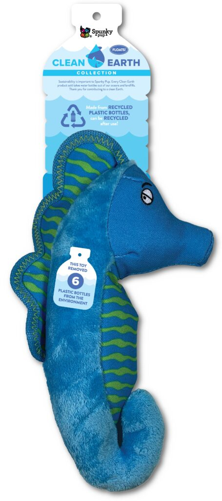 An image of Spunky Pup Dog Toys - Clean Earth Plush Seahorse - Large
