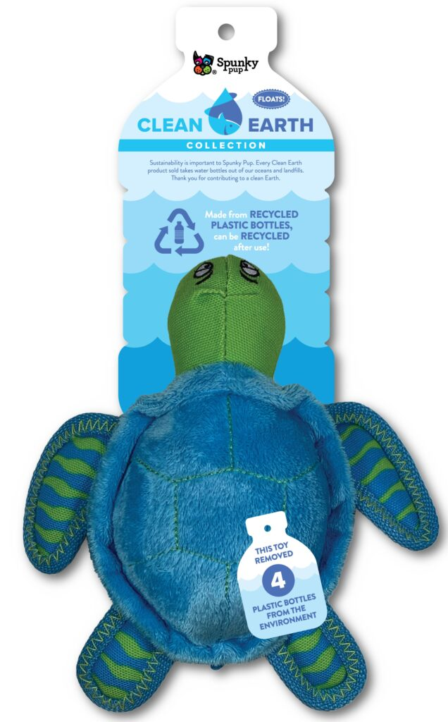 An image of Spunky Pup Dog Toys - Clean Earth Plush Turtle - Small