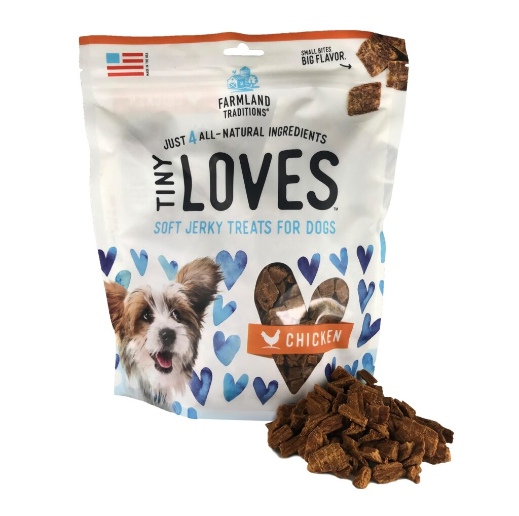 An image of Farmland Traditions – Tiny Loves Soft Jerky Treats For Dogs Chicken – 6oz
