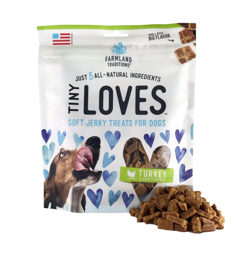 An image of Farmland Traditions - Tiny Loves Soft Jerky Treats For Dogs Turkey & Sweet Potato - 16oz