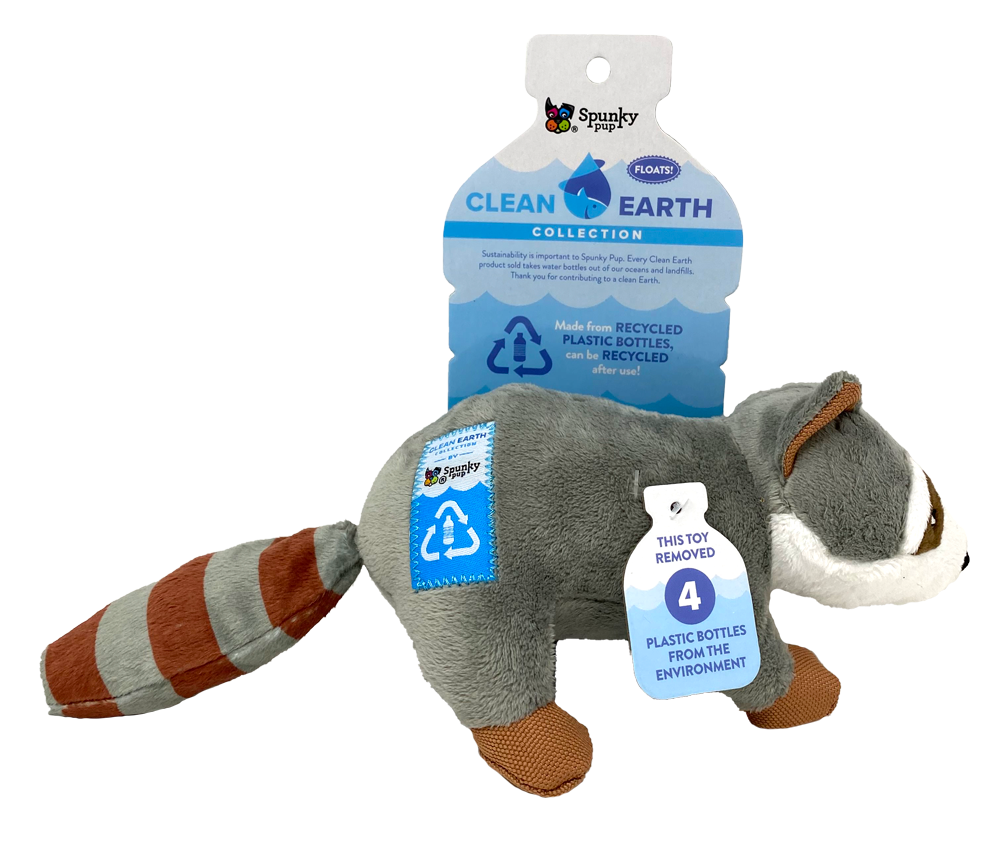 An image of Spunky Pup Dog Toys – Clean Earth Plush Raccoon – Small