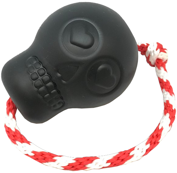 An image of SodaPup - True Dogs, LLC - USA-K9 Skull Reward Toy - L - Black