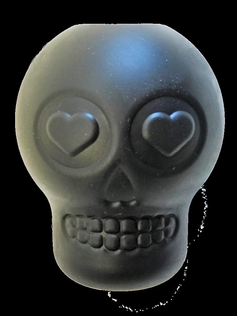 An image of SodaPup - True Dogs, LLC - Skull Treat Dispenser - Large - Black