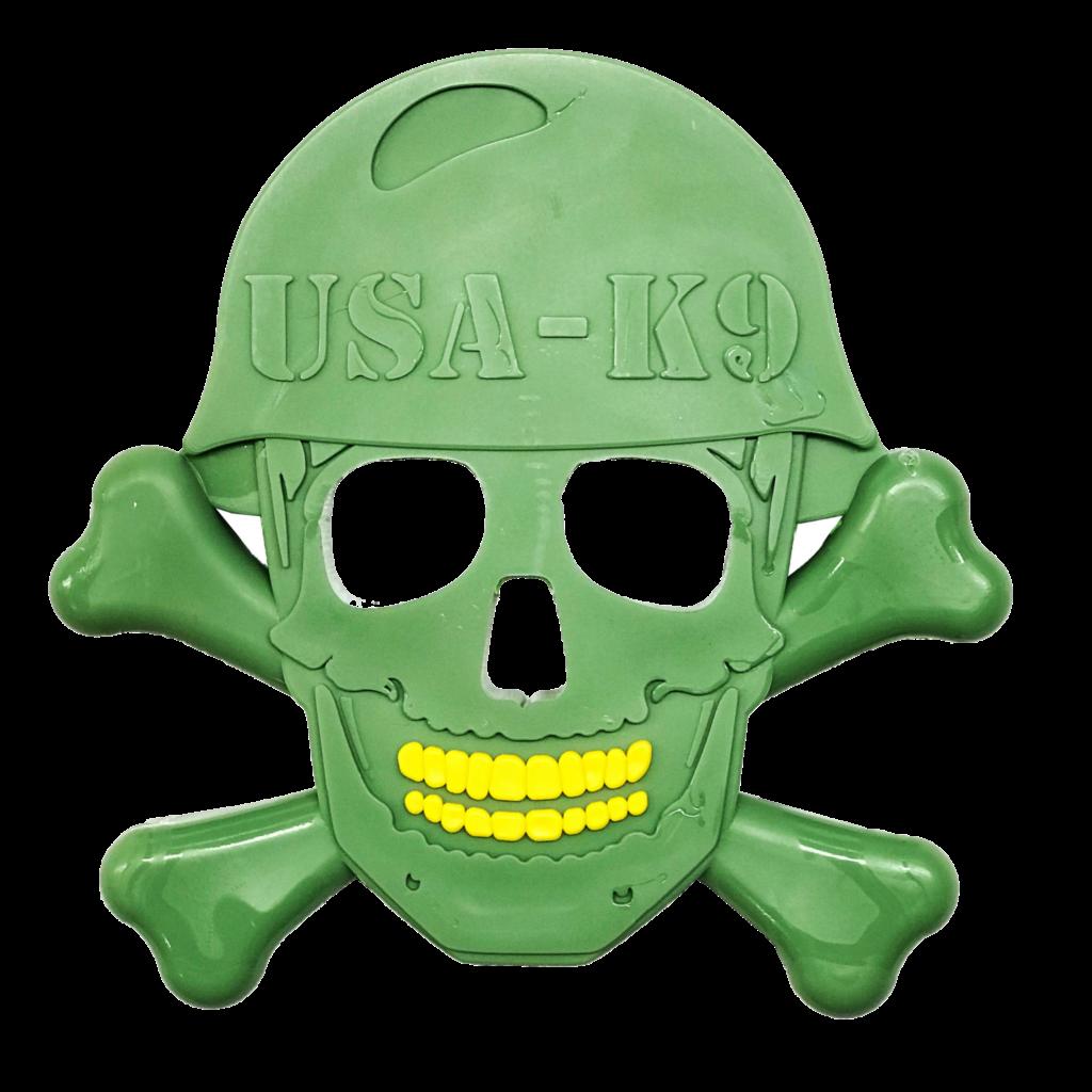 An image of SodaPup - True Dogs, LLC - USA-K9 Nylon Skull & Cross Bones - green